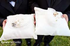 modern white wedding, chic white ring bearer pillow with petals.