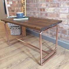 Bespoke Rustic Handmade Pine And Copper Pipe Coffee Table