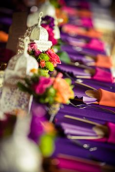 purple and orange, red and either white or gold. More or an India wedding.