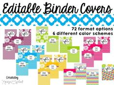 Editable Binder Covers Included: Editable Binder Covers- 72 Format options
