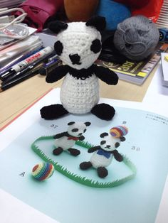 Panda  Made based on Applemints' series: amigurumi embroidery threads