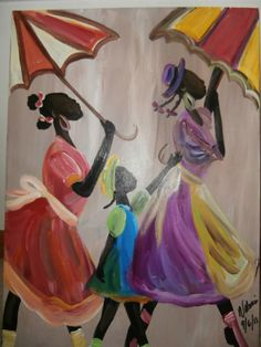 Original African American Black art painting by Valenciaart