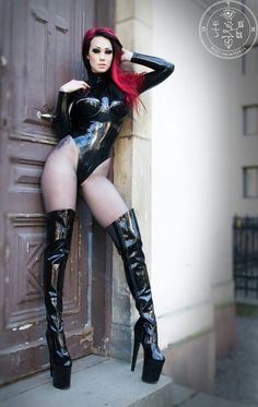 Starfucked black latex thigh high boots