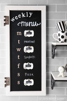 We dressed up this kitchen chalkboard with embellishments galore to create a pretty piece that serves a practical purpose. Kitchen Chalkboard, Home Organization, Organizing, Kitchen Decor, Kitchen Ideas, Kitchen Hacks, Hobby Lobby, Getting Organized, Home Accents