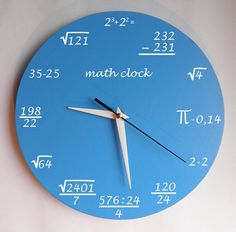 Math clock Clock for room. Modern clock. Hall Lobby Boy room