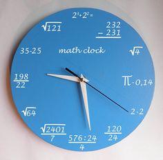 Math clock Clock for room. Modern clock. Hall Lobby Boy room