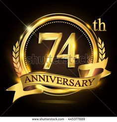 74th golden anniversary logo with ring and ribbon, laurel wreath vector design. - stock vector
