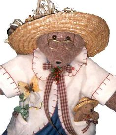 Handmade Country Bear Made by Brambleberry Cottage Crafts https://www.facebook.com/BrambleberryCottageCrafts