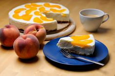 Peach cheese cake and a cup of coffee :)