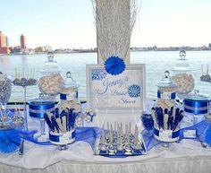 Bridal Shower candy buffet royal blue