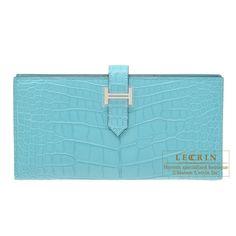 e0cbe2e12255 Hermes Bearn Soufflet Blue Saint-Cyr Matt alligator crocodile skin Silver hardware  Hermes Bags
