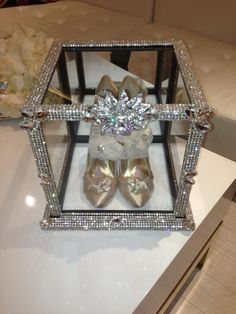Crystallized bling shoe box for wedding shoes call 818-817-7575 great way to also display your brooch bouquet