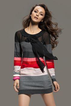 Striped Knit Long Sleeved Dress