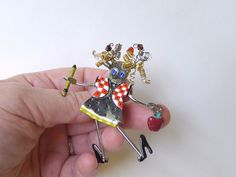 Carrette by Ganz School Teacher Pendant Brooch, Carrette Girl Student Pin Pendant, Vintage Modern Trembler Brooch Moving Arms Legs - pinned by pin4etsy.com