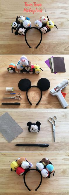 What's better than Tsum Tsum Mickey Ears? Nothing we can think of! Cut your Mickey & Friends Tsum Tsums, patch the pieces with extra fabric, and then hot glue the faces to the front of the ears and bottoms to the back. And there you have it — an adorable Disney DIY!