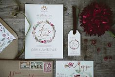 Invitation - Wreath flower with marsala color | Indie Wedding Inspiration
