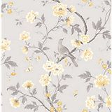Colours Nadia Soft Lemon Trees with Birds Mica Wallpaper | Departments | DIY at B&Q