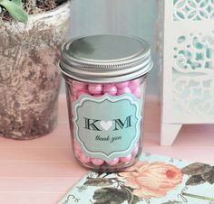 Personalized Mini Mason Jar Wedding & Part Favors