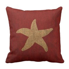 Nautical Starfish in Rustic Red and reverse Throw Pillow