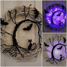 Spooky tree cat and bats Halloween wreath