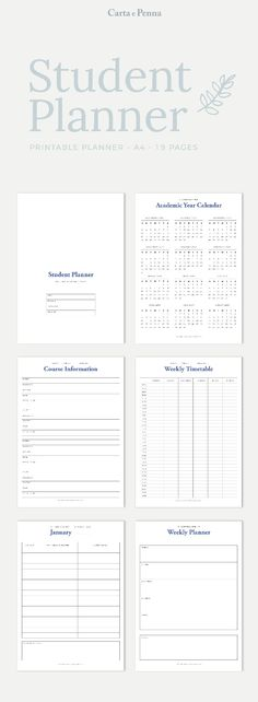 Student Planner, College Planner, Academic Planner Printable, 2018 - college organizer