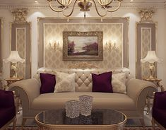 A luxury classical reception ,i used light bright colors with a purple touch according to the small space .Refined and classic elements in the finishing and the decoration with classic furniture and warm lighting gives it elegance,and the overall monochr… Mansion Interior, Luxury Homes Interior, Luxury Home Decor, Home Room Design, Home Interior Design, Living Room Designs, Home Living Room, Living Room Decor, Elegant Living Room