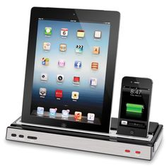 The iPhone And iPad Charging Speaker Dock - Hammacher Schlemmer - This is the speaker dock that charges an iPhone and iPad simultaneously.