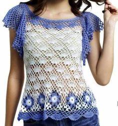 Häkelmuster-Fundgrube: Shirt mit kurzen Flatter-Ärmeln