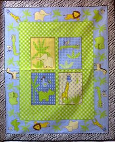 Baby Quilt Panel Kits | 004 Green Animal Window Baby Panel - RM49.50 per meter
