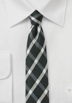 Krawatte kariert teerschwarz perlweiß mit Wolle