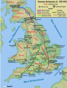mapsontheweb:  Map of Roman Britain (150 AD)