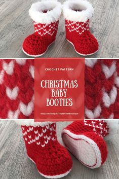"""Christmas Baby Booties Crochet Pattern Once made, these little booties will be perfect for a precious bundle of joy. Perfect for the holidays or any cold winter day. If you don't want them for Christmas, simply change the colors. Don't want them for winter? By using a regular acrylic yarn around the top, you will change the look to a more """"anytime"""" bootie."""