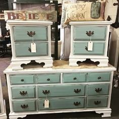 Rethunk Junk Cotton and Robin Egg make a stunning combo for this bedroom set #breakthechalkhabit #rethunkjunk  #nowaxever