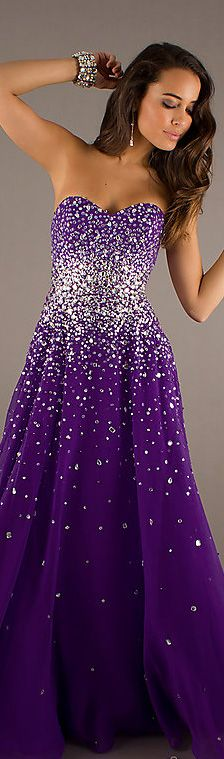 Fashion long dress #strapless #purple #glitter