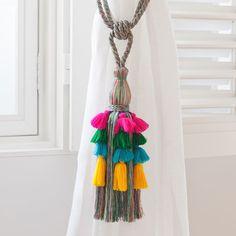 Zara Home New Collection Boho Curtains, Colorful Curtains, Curtain Tie Backs Diy, Curtain Ties, Bedroom Drapes, Bedroom Colors, Diy Bedroom, Bedroom Ideas, Pom Poms