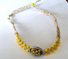 Sunshine Yellow Macrame Choker by PennysBeadQueen2 on Etsy, $12.00