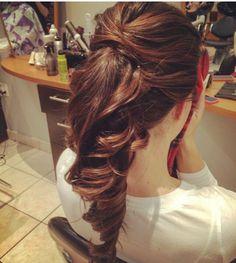 Wedding ponytail Fancy Ponytail, Ponytail Updo, Ponytail Hairstyles, Hairdos, Bridesmaid Ponytail, Wedding Ponytail, Hair Wedding, Prom Hair, Bridal Hair