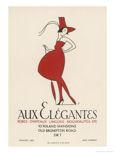 "Poster Advertising ""Aux Elegantes"" in London's Old Brompton Road Giclee Print by Aldo Cosomati at Art.com"