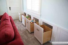 Des tiroirs rangement pour les jouets des enfants