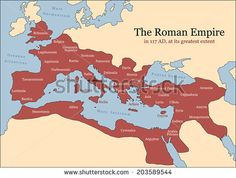 The Roman Empire at its greatest extent in 117 AD at the time of Trajan, plus principal provinces. Vector illustration. - stock vector