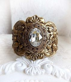 Ornate cuff bracelet Whisper of Angels by Midnight Vision Jewelry Very detailed, richly decorated vintage inspired cuff bracelet featuring an oval
