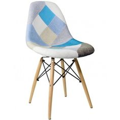 Retro Woven Patchwork Dining Chair with Eiffel Legs