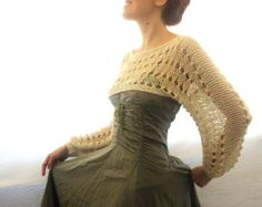 Cotton Summer Cropped   Sweater Shrug hand knitted