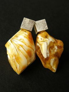 FREE Shipping, Amber earrings,  polished, Stud, yellow, white,  Silver 925, NEW, UNIQUE- Handmade von JewellerWithSoul auf Etsy