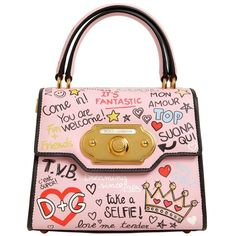 Dolce & Gabbana Women Small Welcome Graffiti Leather Bag (58,600 MXN) ❤ liked on Polyvore featuring bags, handbags, shoulder bags, pink, genuine leather shoulder bag, pink leather handbags, pink purse, top handle leather handbags and genuine leather purse
