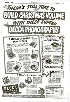 Decca Phonograph ad from December 9, 1950 Billboard Magazine
