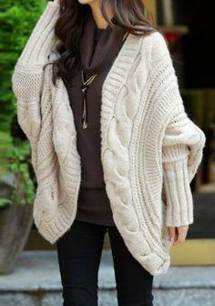 #SheInside Apricot Batwing Cape Cardigan Loose Sweater - Sheinside.com