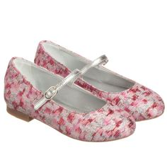Dolce & Gabbana Girls Silver & Pink Jacquard Shoes at Childrensalon.com