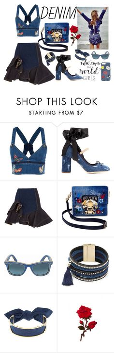 """""""All Denim, Head to Toe"""" by anna-gabedava ❤ liked on Polyvore featuring Valentino, Miu Miu, Alexander McQueen, Dolce&Gabbana, Ray-Ban, Design Lab, Monica Sordo, Iphoria and alldenim"""