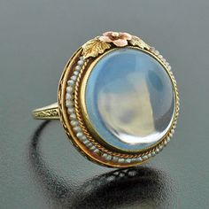 So pretty. Art Nouveau 14kt Pearl & Large Cabochon Moonstone Ring, c. 1915